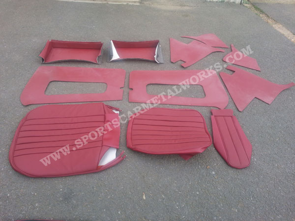 Red leather seat kit and trim panel kit MGA